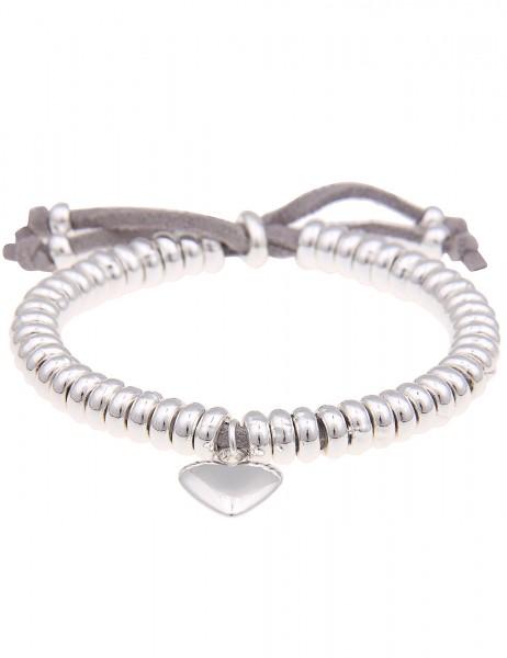 Leslii Armband Ring Herz Silber Grau | Damen-Armband Mode-Schmuck | Länge: verstellbar