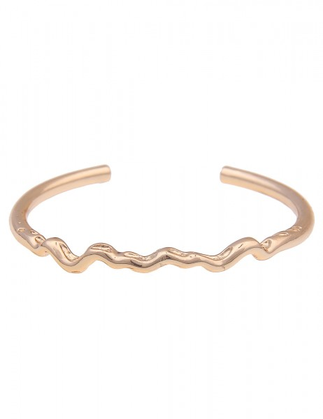 Leslii Damen-Armband Classic Welle schmaler-Armreif glänzender Armschmuck goldenes Modeschmuck-Armba