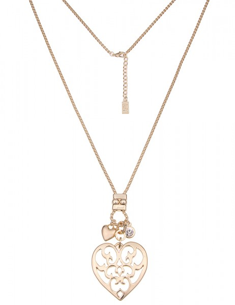 Leslii Damenkette Muster Herz aus Metalllegierung Größe 85cm in Gold