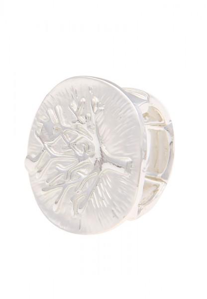 Leslii Damen-Ring Lebensbaum-Schmuck Baum dehnbarer Statement-Ring silberner Modeschmuck-Ring in Sil