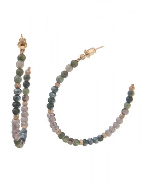 Leslii Damen-Ohrringe Creolen Natur-Stein Glas-Perlen grüne Modeschmuck-Ohrringe | Stein