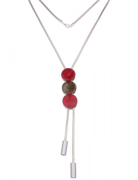 Leslii Damenkette Ethno Summer Statementkette Halskette lange Modeschmuck-Kette Länge 72cm in Silber