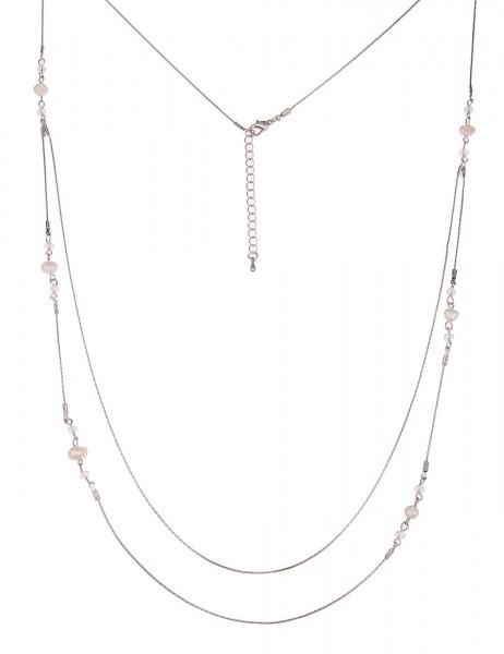 Leslii Halskette Double-Look Weiß Silber | lange Damen-Kette Mode-Schmuck | 94cm + Verlängerung