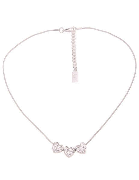Leslii Damen-Kette Trio Herz-Anhänger gehämmerte Herz-Kette Liebe kurze Halskette silberne Modeschmu
