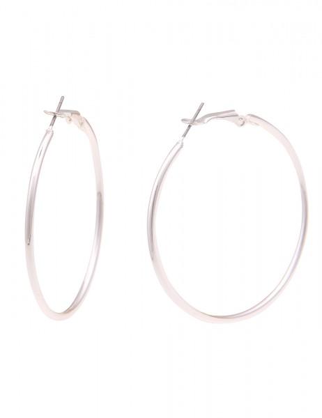 Leslii Damen-Ohrringe leichte Creolen Classic Kreolen glänzende Ohrringe silberne Modeschmuck-Ohrrin