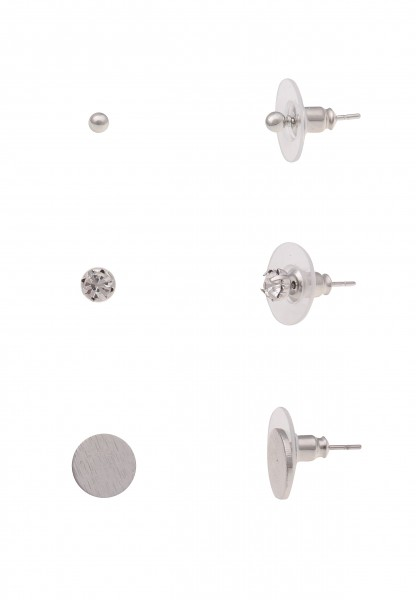 Leslii Damenohrringe Ohrstecker 3er-Set Ohrring-Set Ohrschmuck Basic Modeschmuck-Ohrringe Größe 0,3c