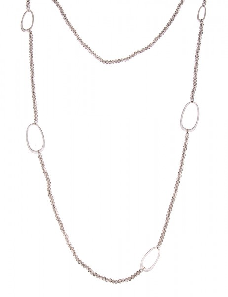 -50% SALE Leslii Halskette Glasperlen Oval Silber Grau | lange Damen-Kette Mode-Schmuck | 100cm