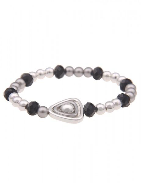 Leslii Damen-Armband Dreieck Statement-Armband Kugeln Glasperlen-Armband silbernes Modeschmuck-Armba