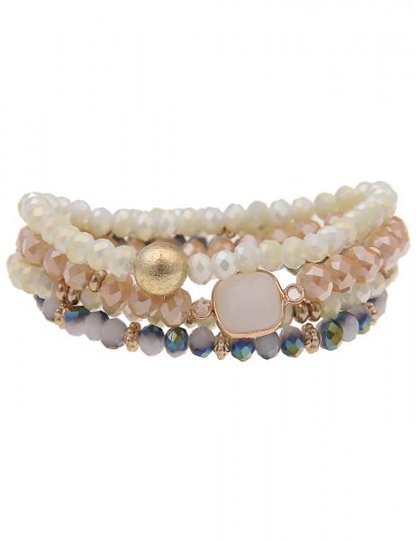 Leslii Damen-Armband 4er Set Statement-Armband Stein-Armband Naturstein Glasperlen buntes Modeschmuc