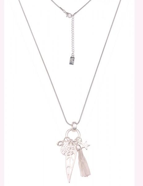 Leslii Damen-Kette Statement Natur Motive Lebensbaum Blatt Stern Tassel lange Halskette silberne Mod