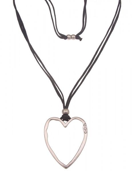 Leslii Damen-Kette Statement XXL-Herz Herz-Kette Stoff-Kette lange Halskette | Schwarz