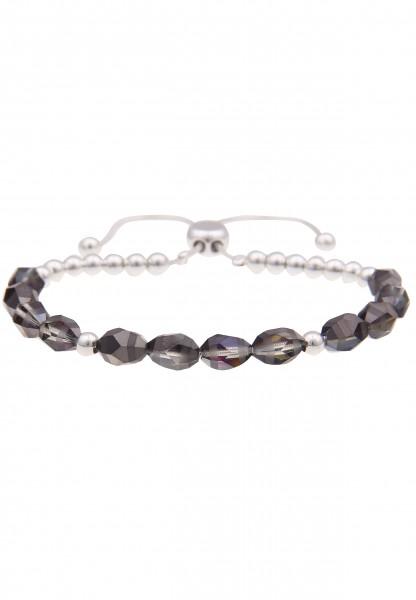Leslii Damenarmband Farben Schimmer aus Glassteinen mit Metalllegierung Länge verstellbar in Silber