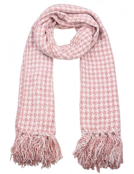 -50% SALE Leslii Damen Schal Hahnentritt Muster aus Polyester Größe 180cm x 63cm in Rosa Weiß 900117