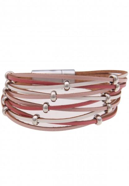 Leslii Damenarmband Flecht Look Statement-Armband veganes Lederarmband Modeschmuck Länge 19cm in Ros
