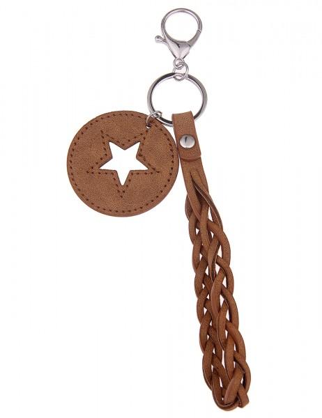 Leslii Schlüssel-Anhänger Stern Look Braun | Damen-Accessoires Mode-Schmuck | Größe: 16cm