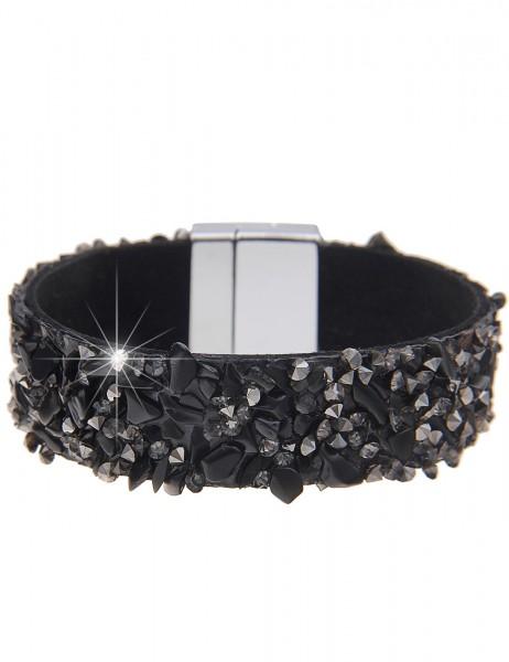 Leslii Armband Statement Steinsplitter Schwarz | Damen-Armband Mode-Schmuck | Länge: 19cm
