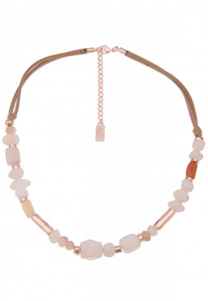 Leslii Damenkette Steinschliff Natur-Steine Steinkette vegane Lederkette Halskette kurze Modeschmuck