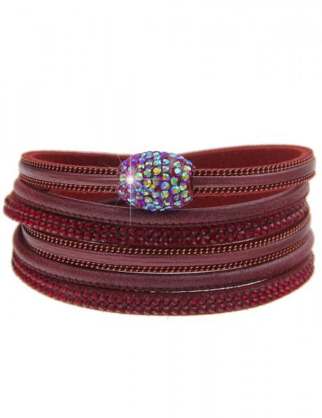 Leslii Damen Wickel Armband Strass Look Lederimitat 39cm mit Magnet-Verschluss Rot 260116858
