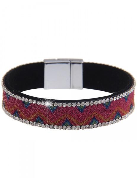 -50% SALE Leslii Damen-Armband Mini-Perlen Pink Blau Lederimitat Strass Länge: 19.5cm Magnetschließe
