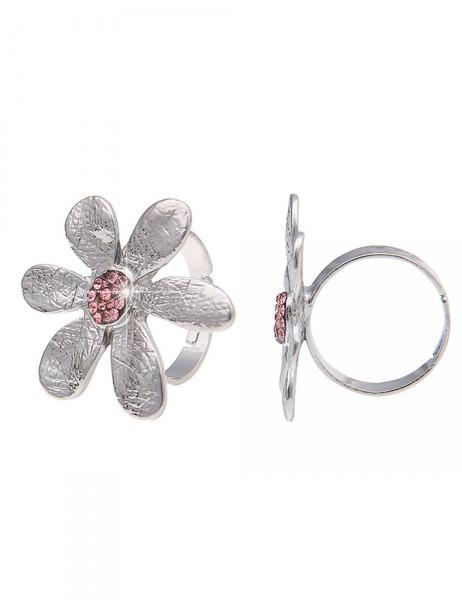 -50% SALE Leslii Damen-Ring Glitzer-Blüte Metalllegierung Größe verstellbar 250115846