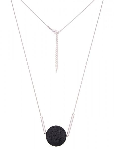 Leslii Damenkette Premium Lavastein aus Metalllegierung Länge 84cm in Silber Schwarz Matt