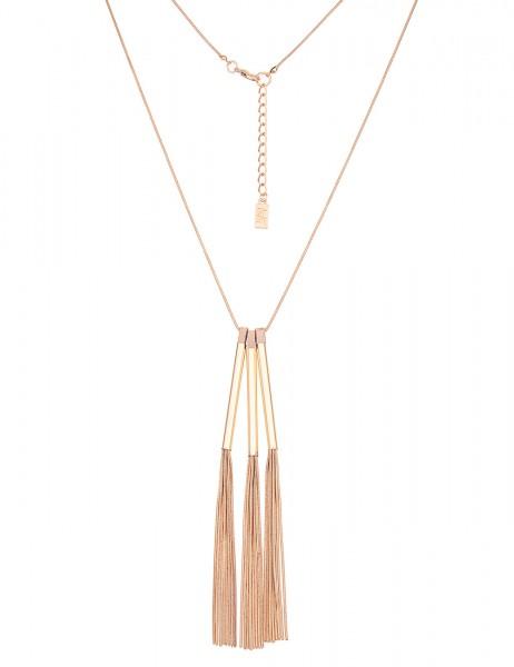 Leslii Damen-Kette Glanz-Bommel Gold Metalllegierung Lederimitat 80cm + Verlängerung 220116353