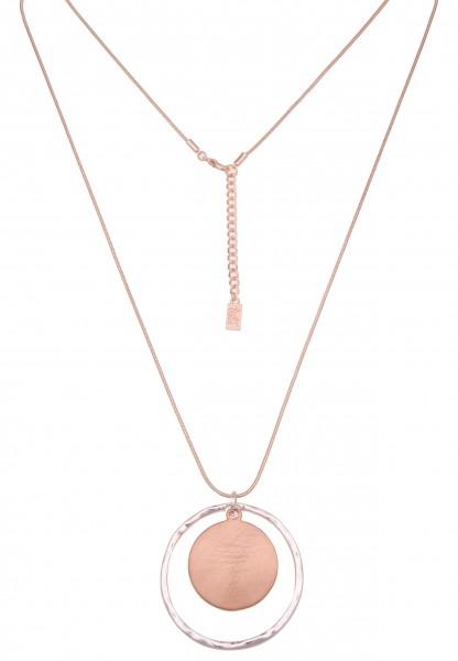 Leslii Damen-Kette Bicolor Ring-Anhänger Schlangen-Kette lange Halskette Modeschmuck-Kette in Silber