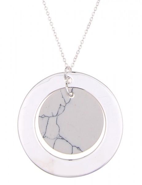 -70% SALE Leslii Halskette Steinscheibe Silber Weiß | lange Damen-Kette Mode-Schmuck | 83cm + Verlän