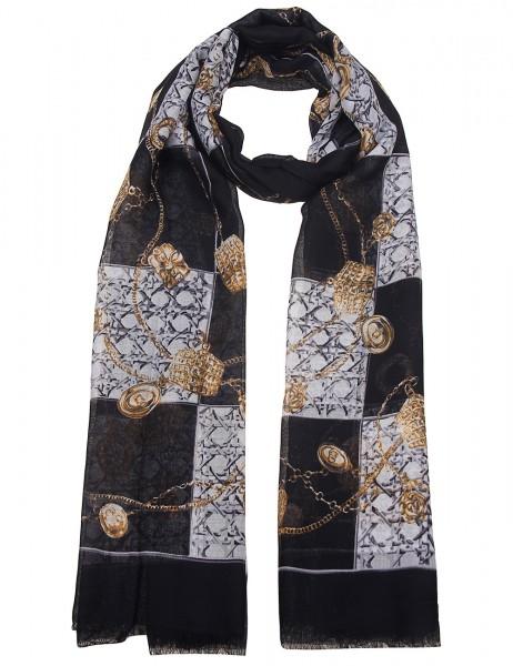 Leslii Damen-Schal Scarf Print Ketten-Muster Chain-Print weicher Herbstschal schwarzer Musterschal G