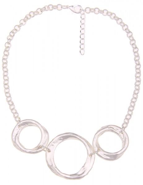 -70% SALE Leslii Halskette Big Rings Silber Matt | kurze Damen-Kette Mode-Schmuck | 45cm + Verlänger