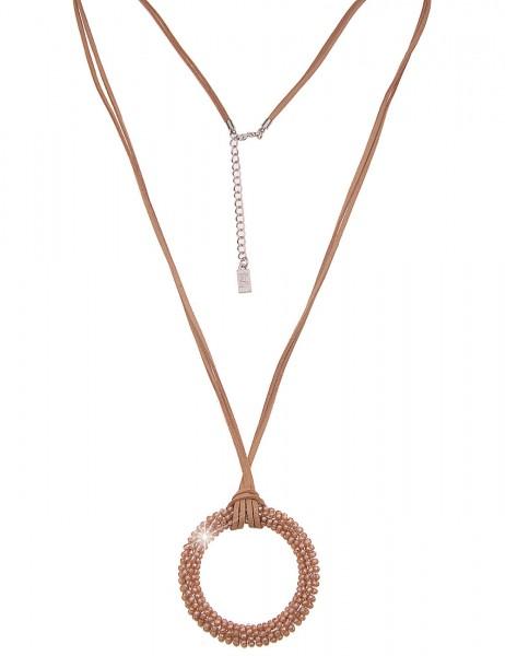 Leslii Damenkette runder Anhänger Glasperlen vegane Leder-Kette lange Halskette 2-reihige Modeschmuc