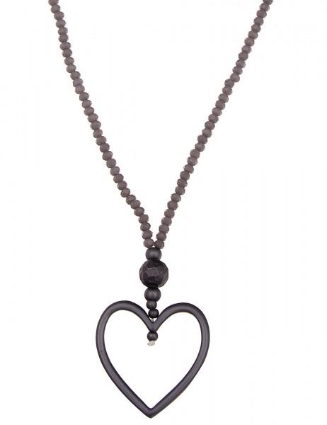 Leslii Halskette Glasperlen-Herz Grau | lange Damen-Kette Mode-Schmuck | 90cm + Verlängerung