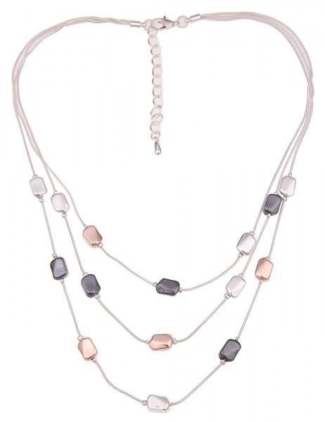 Leslii Damen-Kette Tricolor Rosé Silber Schwarz Metalllegierung Hochglanz 45cm + Verlängerung 210116