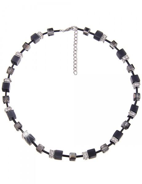 Leslii Damenkette Premium Glitzer-Würfel aus Metalllegierung mit Naturstein Länge 43cm in Schwarz Si