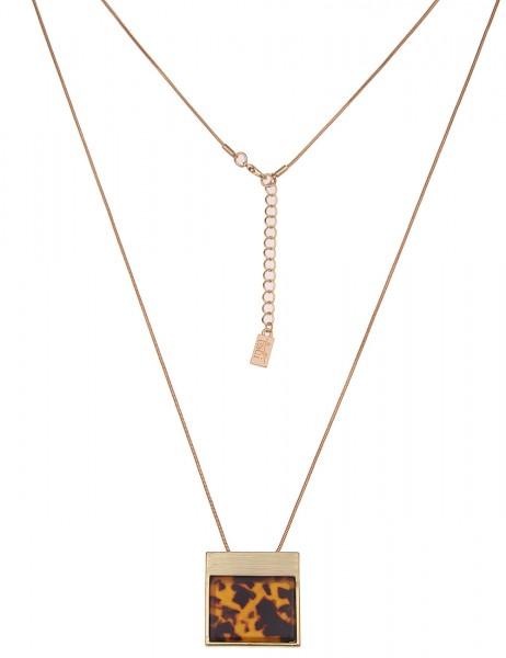 Leslii Damenkette Horn Look Hornkette lange Halskette Modeschmuck-Kette Länge 84cm in Braun Gold