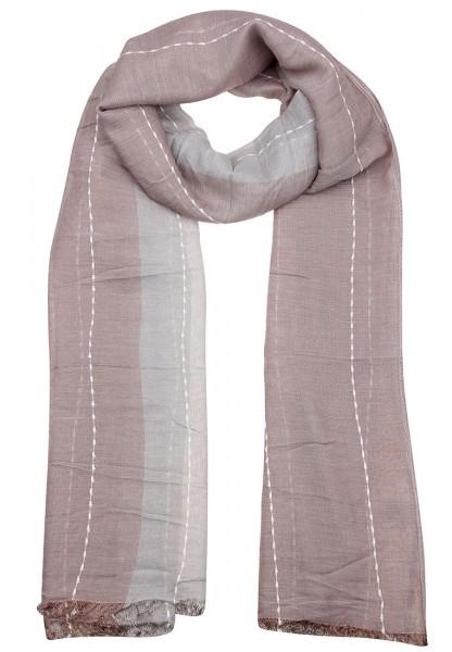 LAST CHANCE Schal Farbstreifen Grau Braun | Trendiger Damen-Schal | Mode-Accessoire | 190cm x 85cm