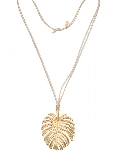 Leslii Damen-Kette Tropen-Blatt Beige Gold Lederimitat Metalllegierung 85cm verstellbar 220215772