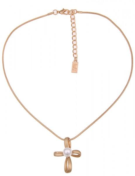 Leslii Damen-Kette Perlen Kreuz Gold Weiß Metalllegierung 42cm + Verlängerung 210116328