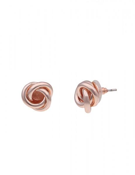 Leslii Damenohrringe Ohrstecker Endlos Knoten aus Metalllegierung Größe 1cm in Rosé Hochglanz