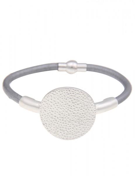 Leslii Armband Punkt-Muster Grau Silber | Damen-Armband Mode-Schmuck | Länge: 19cm