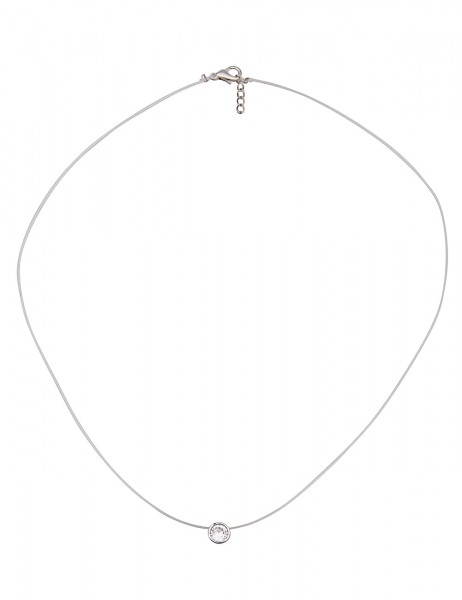 Leslii Damenkette Single Stone aus Kunststoff mit Glasstein Länge 40cm in Weiß