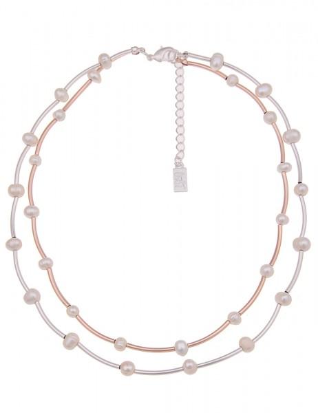 Leslii Damenkette Perlencollier Bicolor aus Metalllegierung mit Süßwasser-Zuchtperlen Länge 45cm in