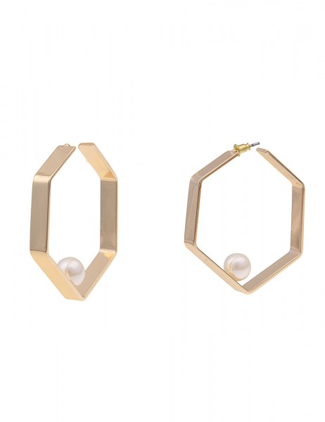 Leslii Damen-Ohrringe Creolen Sechseck weiße Perlen-Ohrringe goldene Modeschmuck-Ohrringe Ohrschmuck