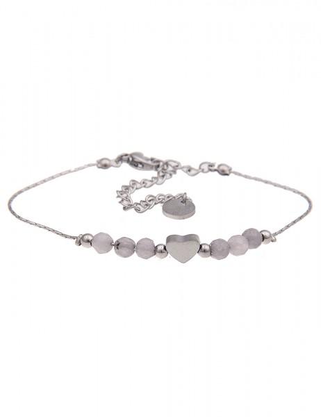 Leslii 4Teen Damenarmband Glanz Herz aus Metalllegierung mit Naturstein Länge 16cm in Silber Grau