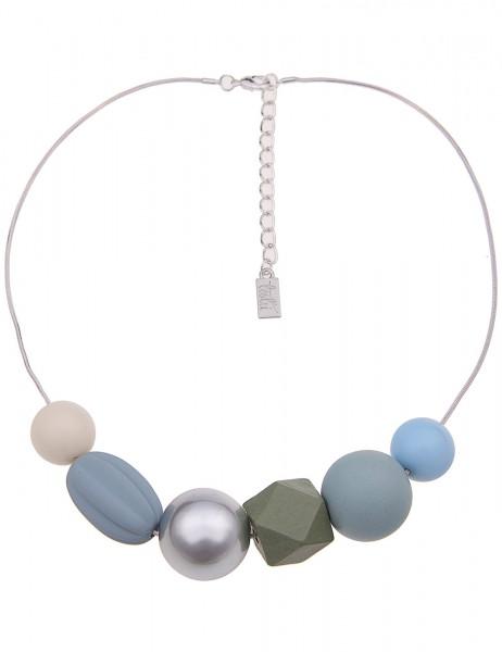 Leslii Damenkette Blue Balls aus Metalllegierung mit Kunststoff Länge 46cm in Silber Blau