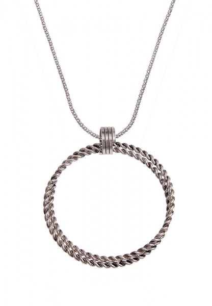 Lange Halskette Spiral Ring Silber