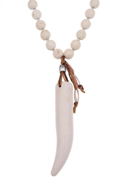 LAST CHANCE Leslii Halskette Säbelzahn Beige | lange Damen-Kette Mode-Schmuck | 82cm + Verlängerung