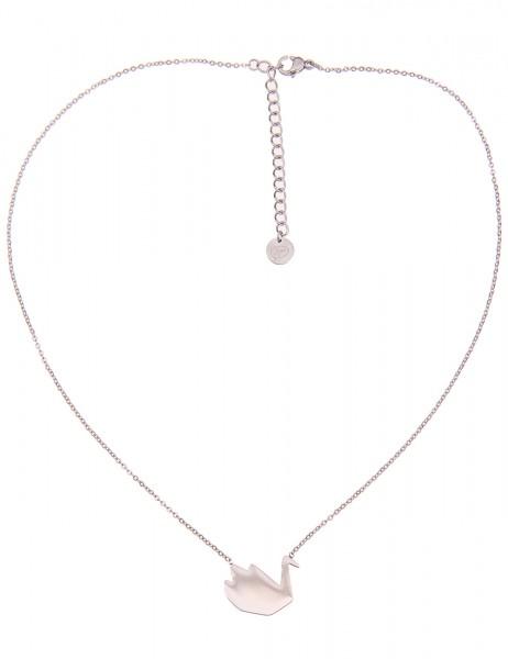 -50% SALE Leslii 4teen Damenkette Schwan aus Metalllegierung Länge 39cm in Silber