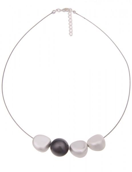 Leslii Damenkette Halsreif Trend Matt aus Metalllegierung Länge 45cm in Silber Schwarz