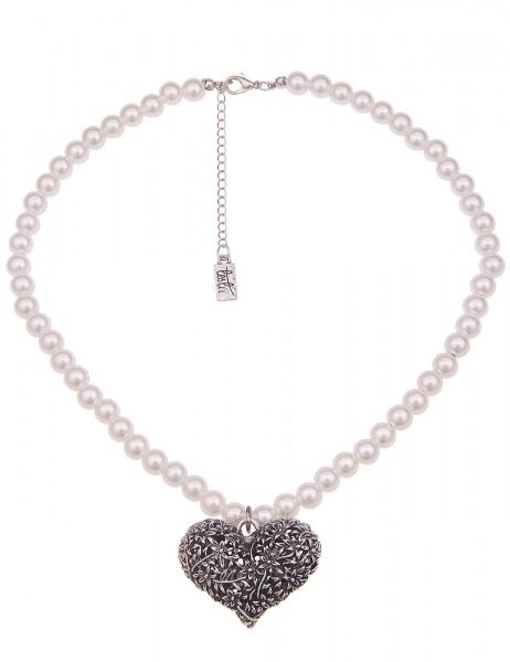 Leslii Damenkette Edelweiß Herz-Kette weiße Perlen-Kette Dirndl-Kette Oktoberfest kurze Halskette Mo